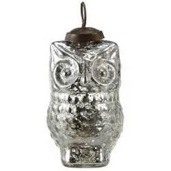 silvered 4 quot owl tree ornaments set 12 antique glass decor nova68