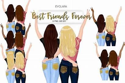 Friends Clipart Bff Besties Sisters Bundles Illustrations