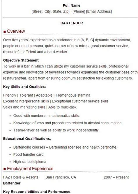 100 bartending resume sle bartender resumes sles 28
