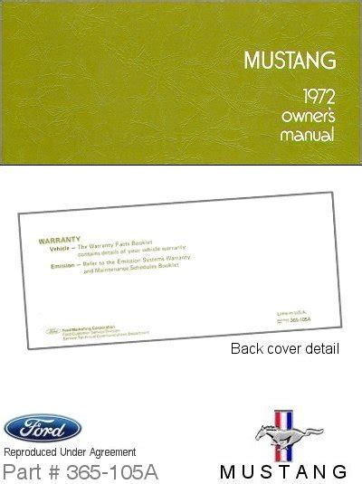 book repair manual 1972 ford mustang auto manual 1972 ford mustang owner s manual ford motor company