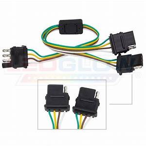 Ledglow Flat 4 Pin Y-splitter Adapter Trailer Harness For Led Tailgate Light Bars