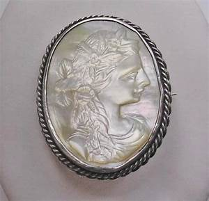 Victorian Silver Carved Mother of Pearl Cameo Brooch ...