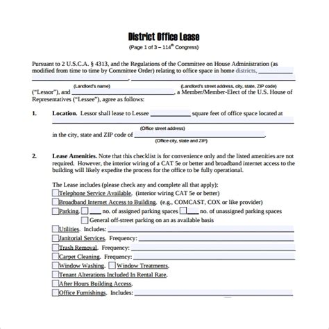 office lease agreement templates samples examples