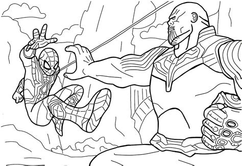 spiderman vs thanos coloring page free printable