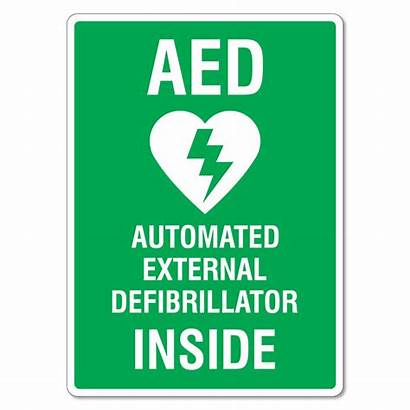 Aed Defibrillator Inside External Sign Automated Signs