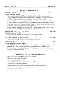 exle of a education resume special education teaching resume exle