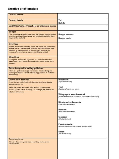 Creative Brief Template Strategic Communication Target