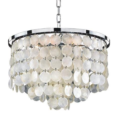 shell chandeliers glow lighting bayside 6 light capiz shell and chrome