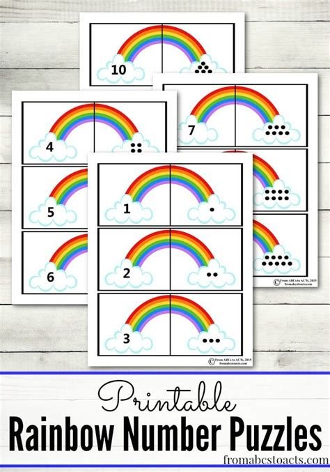 printable rainbow number puzzles for preschoolers wiosna