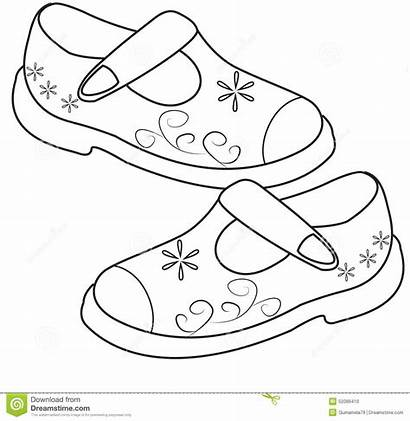 Coloring Shoes Shoe Drawing Pages Sandals Sheets