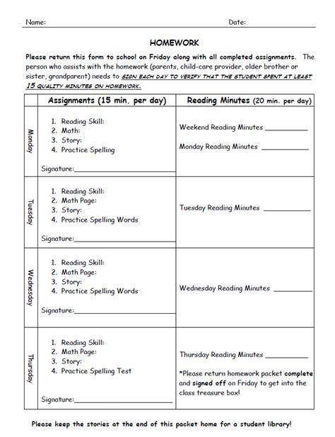 homework template family of educators homework
