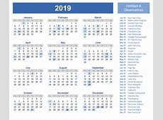 Get Printable Free 2019 One Page Calendar Template