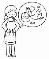 Pregnant Coloring Pages Woman Para Mujer Colorear Embarazada sketch template