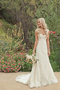 Simple full length country wedding dress with straps for Country wedding party dresses