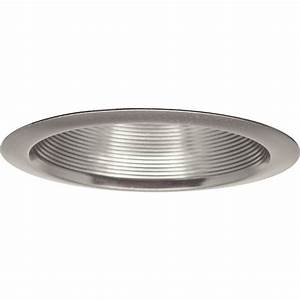 Recessed lighting trim sizes : Progress lighting in brushed nickel recessed baffle