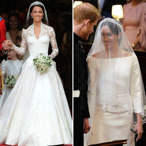 compare meghan markles wedding dress  kate middletons