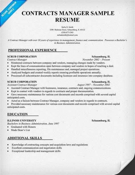 Resume Contract Work by Contracts Manager Resume Template Images Frompo