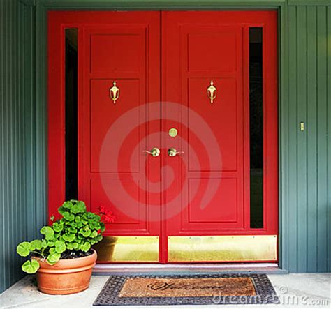 Red Double Door Entry Royalty Free Stock Images - Image