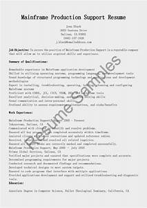 Mainframe Production Support Resume Sample