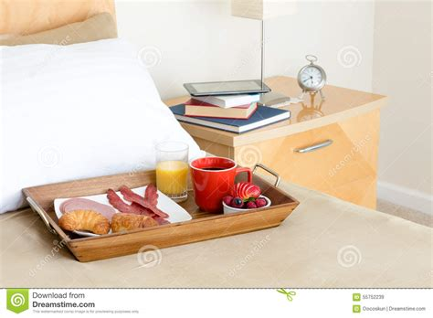 Breakfast In Bed Tray On Bed Beside Night Stand Stock