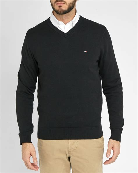 hilfiger sweater hilfiger black pacific cotton v neck sweater in