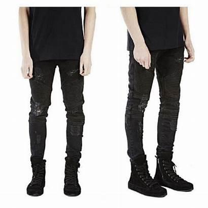 Ripped Jeans Skinny Mens Pants Hip Zipper