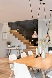 Chaise Blanche Et Bois : meubles de salle manger escalier bois et blanc lampes ~ Nature-et-papiers.com Idées de Décoration