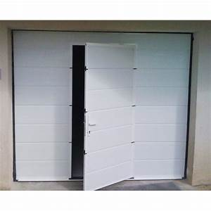 Porte de garage sectionnelle motorisee avec portillon for Porte de garage 2500x2000