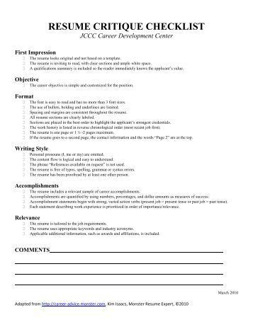 Resume Critique by Resume Professional Profile Qualifications Summary Worksheet