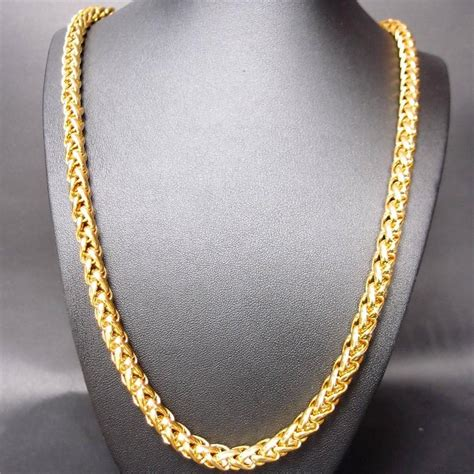"""24k Yellow Gold Filled 295"""" 7mm Wide Men Twist Chain Link. Low Profile Watches. Second Hand Watches. 3mm Diamond. Wishbone Necklace. Chocolate Diamond Earrings. 14k Gold Earrings. Cross Bands. Gold Bracelet"""