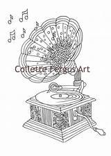 Coloring Gramophone Printable Adult Template Vendu Produit Par sketch template