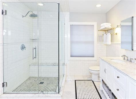 Corner Walk In Shower With Chair Rail Tiles Transitional