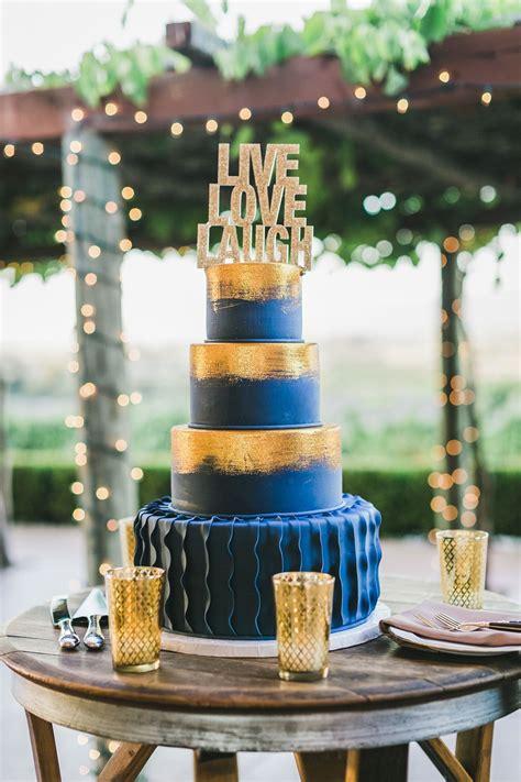 gold  blue fondant wedding cake wedding cakes