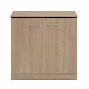 Meuble Bas 2 Portes : meuble de rangement bas 2 portes galaxy naturel ~ Dallasstarsshop.com Idées de Décoration