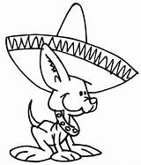 Coloring Mexican Dog Hat Cute Wearing Pages Dogs Fiesta Wiener Chihuahua Hats Sombrero Printable Tin Mexico Dance Cartoon Colorluna Colors sketch template