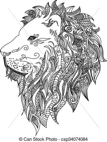 Lion. mehndi tattoo doodles style. Pattern for coloring book. horoscope symbol for your use. for
