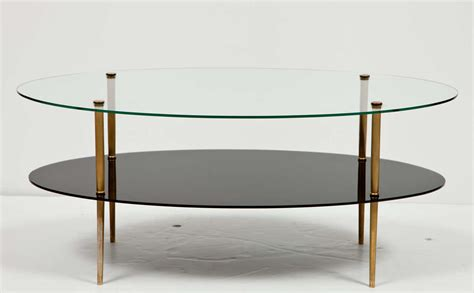 two tier glass coffee table oval glass two tier coffee table at 1stdibs