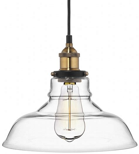 deneve clear glass shade pendant light brass ceiling
