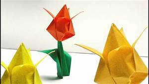 Origami Blumen Falten : origami blumen falten 01 tulpe youtube ~ Watch28wear.com Haus und Dekorationen