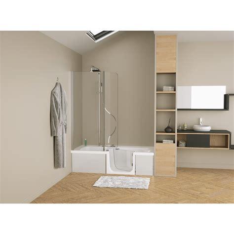 baignoire combiné pare baignoire combin 233 baignoire robinetterie duo design 3 kinedo bricozor