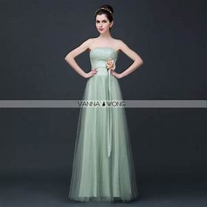 Fruit Green Light Green Strapless Simple Lace Up Tulle ...