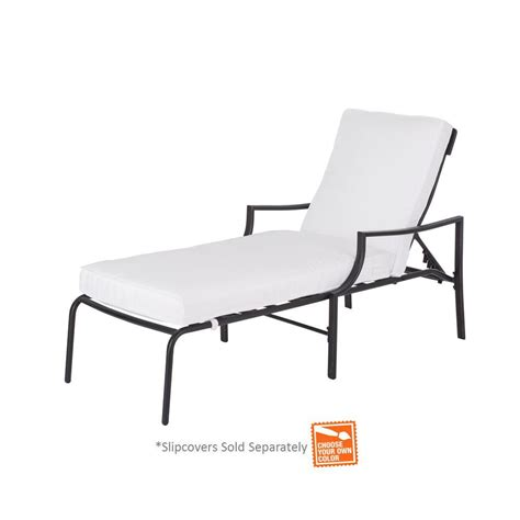 hton bay oak heights patio chaise lounge with cushion