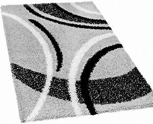 Teppich Rund Schwarz Weiß : shaggy teppich hochflor langflor gemustert in grau schwarz weiss teppiche hochflor teppiche ~ Buech-reservation.com Haus und Dekorationen