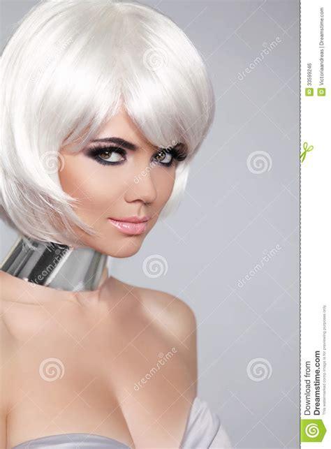 Fashion Beauty Portrait Woman White Short Hair Beautiful