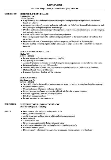 Telemarketing Resume by Inbound Sales Resume Sles Velvet