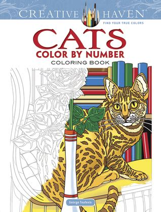 creative haven cats color  number coloring book