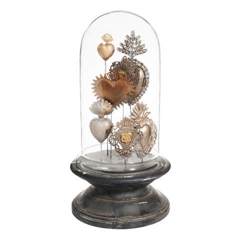 cloche d 233 co en verre et bois h 38 cm broc antique maisons du monde