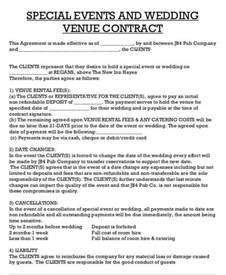 Wedding Venue Contract Agreement Sample