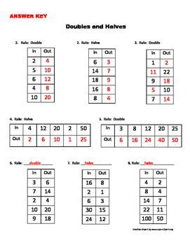 doubles and halves in out boxes worksheets math and