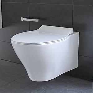 Toiletten Ohne Rand : sp lrandloses h nge wc keramik toilette ohne sp lrand inkl duroplast wc sitz mit soft close ~ Buech-reservation.com Haus und Dekorationen